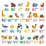 DECOWALL DW-1614 Colorful Animal Alphabet Peel and Stick Nursery Kids Wall Decals Stickers