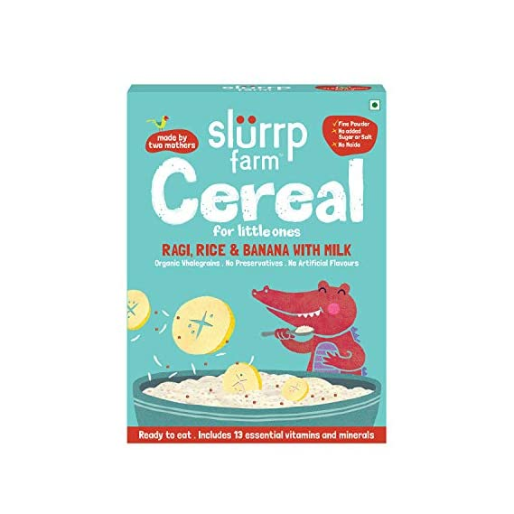 Slurrp Farm Organic No Sugar Baby Cereal | Ragi, Rice and Banana with Milk | Instant Healthy Wholesome Food for Babies, 200g
