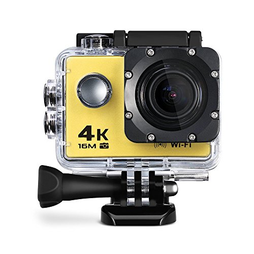 Wifi 4K Action Sports Camera Ultra HD 30m Waterproof DV Camcorder With Built-in Mic, HD 1080P 60fps,16Mp,2inch Display - Yellow (Best Movie Camera)