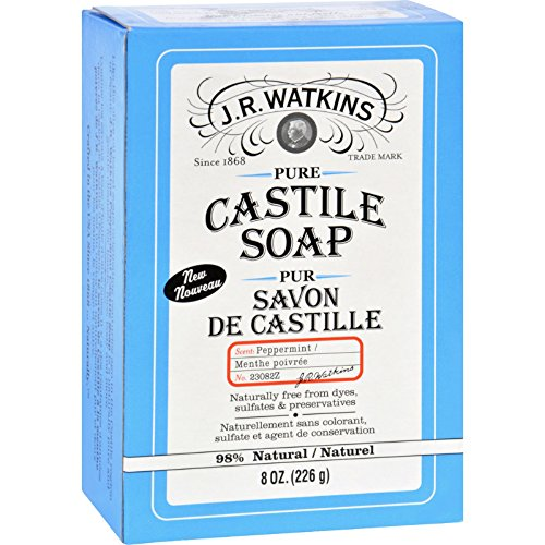 Mint 8 Ounce Bar - J.R. Watkins Bar Soap - Castile - Peppermint - Natural - Free from Dyes - 8 oz (Pack of 3)