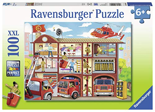 Ravensburger 10404 Firehouse Frenzy, 100 Piece Puzzle for Kids, Every Piece is Unique, Pieces Fit Together Perfectly