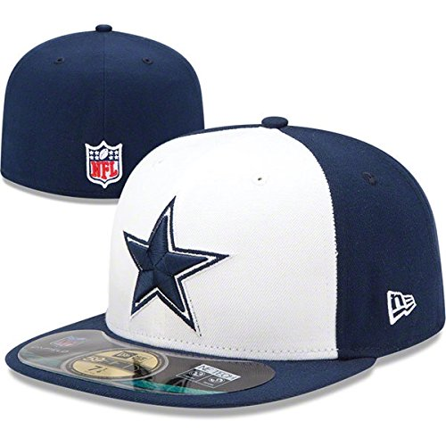 Men's New Era Dallas Cowboys White On Field 59FIFTY Football Structured Fitted Hat 7 3/8
