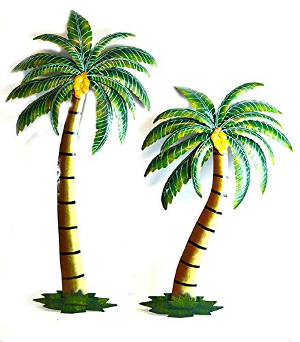 "WorldBazzar Beautiful 37"" Metal Set of 2 Palm Tree with Coconuts Tropical Island Wall Art Scratch and DENT"