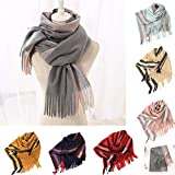 Fashion Scarfs for Women Hot Sale,DEATU Ladies Tassels Striped Imitation Cashmere Rectangle Scarf Air Conditioner Shawl