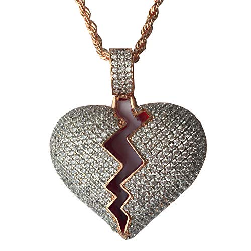 AOVR Hip Hop Twist Chain 18k Gold Plated CZ Fully Iced-Out Broken Heart Pendant (Rose Gold Heart) ()