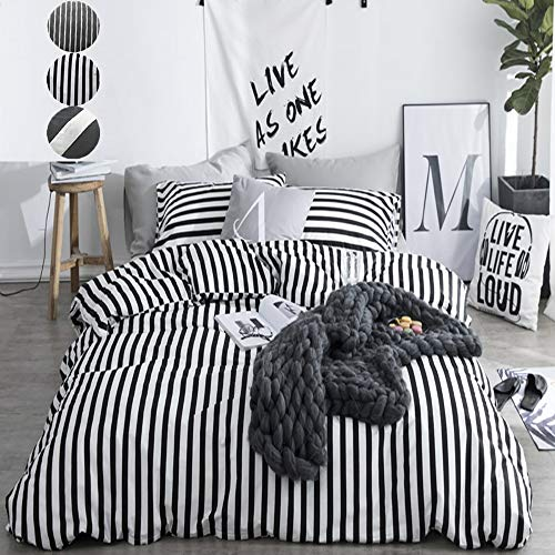 CLOTHKNOW Duvet Cover Queen Stripe Black and White Striped Bedding Set Ticking Teen Boys Girls 100 Cotton Zipper Closure 3 pcs 1 Comforter Cover 2 Envelope Pillowcases (Black Set And White Duvet)