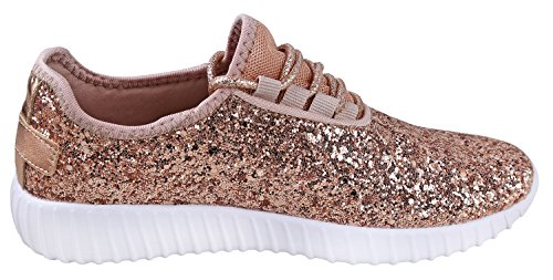 JKNY Kids Girls Fashion Metallic Sequins Glitter Lace up Sneakers Rose Gold 9 by JKNY (Image #2)