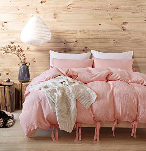 (DREFEEL Egyptian Quality Vibrant Stone Washed Microfiber Pink Duvet Cover King Size 3 Pcs Set (1 Duvet Cover, 2 Pillowcase) - Soft Comforter Cover Quilt Case - Solid Bedding)