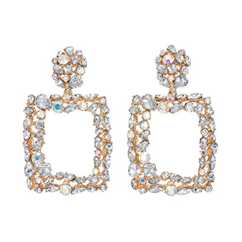 - Statement Earrings for Women Gorgeous Crystal Stone Rhinestone Drop Dangle Party Wedding Daily Club Holiday 1 Pair with gift box HLE71 White