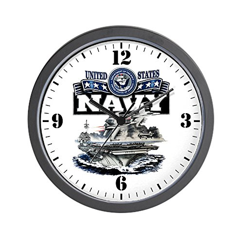 Wall Clock US Navy Aircraft Carrier and Jets (Seal Navy Black Clock)