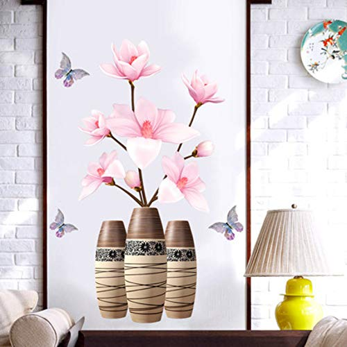 [DianDianwl]70100Cm DIY Lotus Vintage Poster Vinyl Wall Sticker Chinese Style 3D Flower Antique Vase Living Room Bedroom Decor Mural