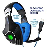 Sades AW80 USB Stereo Gaming Headset Over Ear with Mic Noise Reduction Bass Vibration Volume Control LED for PC Computer MAC(Black)