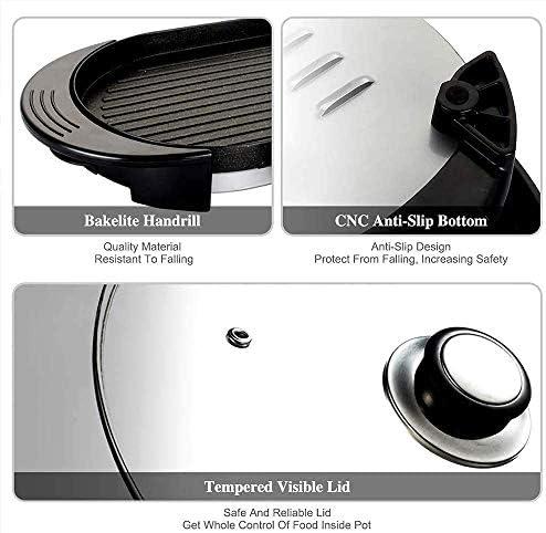 TcooLPE Pot Chaud intérieur Gril électrique Gril Teppanyaki intérieur Multifonctionnel/Pot Shabu Shabu avec contrôle à Double température séparé par diviseur (Size : EU 220V)