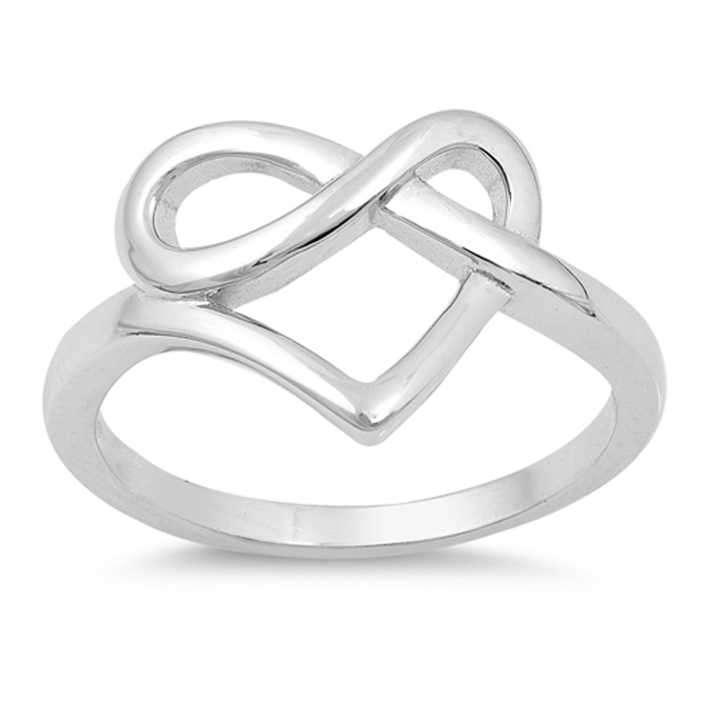 Heart Pretzel Infinity Love Knot Promise Ring Sterling Silver Band Size 4 by Sac Silver (Image #1)