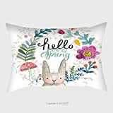 Custom Satin Pillowcase Protector Cute Card With Lovely Rabbit With Heart Flowers Leafs And Mushroom In Awesome Colors Lovely 278867162 Pillow Case Covers Decorative