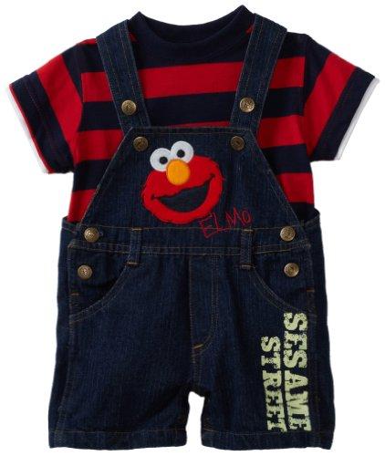 Sesame Street Baby Boys' Elmo Denim Shortall Set