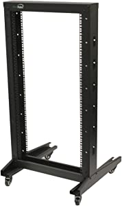 NavePoint 4ft Open Frame 19 Inch 22U 2-Post Network Server Relay Rack Rolling with Casters