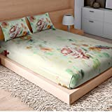 SPACES Courtyard Orange 210 TC Cotton King XL Bed sheet With 2 Pillow Covers