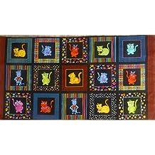 Loralie 'Cool Cats' Panel on Black Cotton Fabric