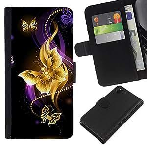 KingStore / Leather Etui en cuir / Sony Xperia Z3 D6603 / Mariposa Negro colorido Fuego Violeta