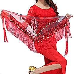Belly Dancing Belt In Red With Hanging Sequins