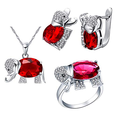 (Uloveido White Gold Plated Large Red Stone Lucky Elephant Earrings Necklace Pendant and Charm Anniversary Rings Jewelry Set for Bridal Women T485)