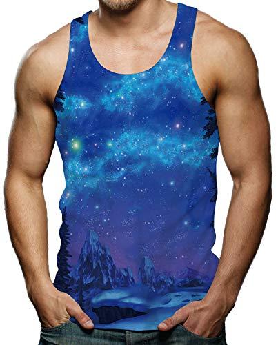 RAISEVERN Galaxy Snow Mountain Tank Top Gym Sleeveless Shirt Tees for Men XXL