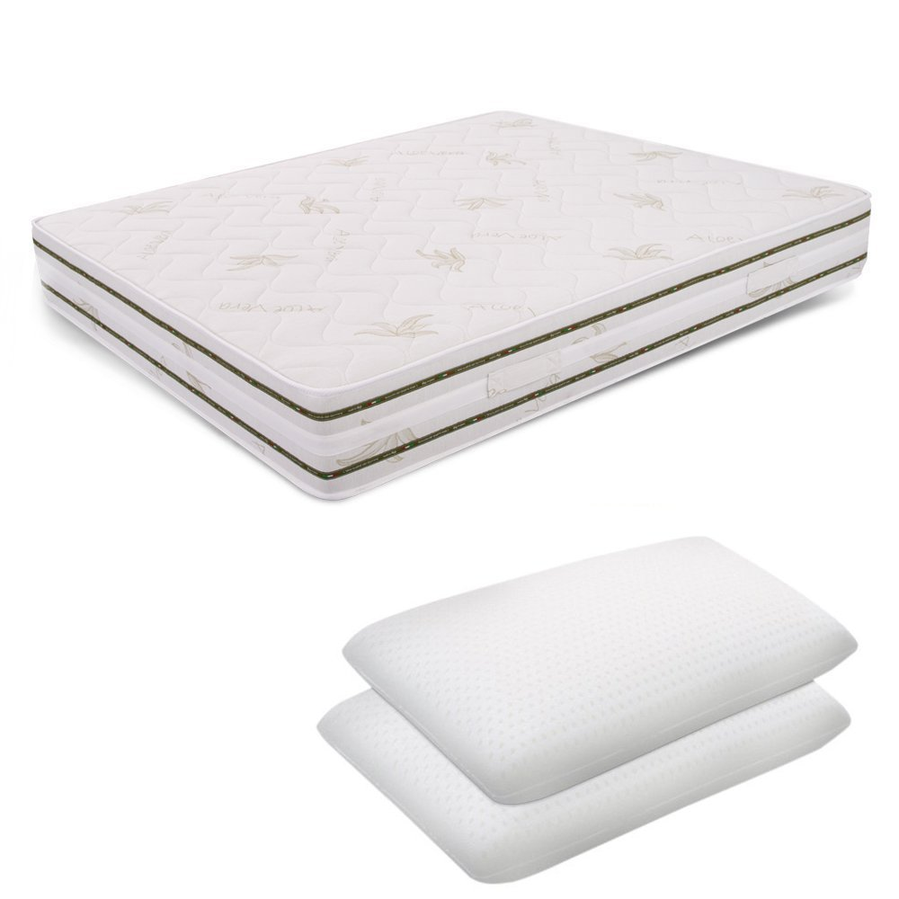 Miasuite Materasso Matrimoniale Memory Foam 6 cm 170X200 Alto 25 cm + Due Cuscini Lattice Alto 12 cm Relax Ortopedico Prezzi offerte