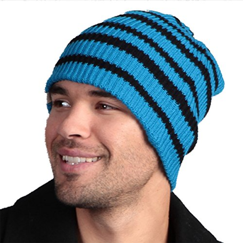 Minus33 Merino Wool SB Reversible Beanie, Azure Blue with Black Stripes, One (Reversible Wool Beanie)
