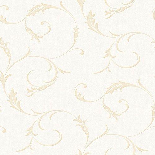 White Scroll Wallpaper (Graham & Brown 20-727 Athena Wallpaper, White Gold)