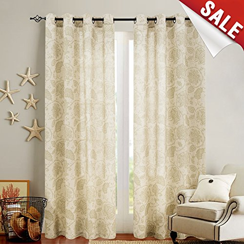 Floral Scroll Printed Linen Curtains, Grommet Top - Ikat Flax Textured Medallion Design Retro Bedroom Window Treatments (Sage, 50-inch x 84-inch, One (Polyester Screen Printed)