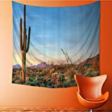Wall Hanging Tapestries Sun Goes Down in Desert Prickly pear Cactus Southwest Texas Natial Park Bedroom Living Room Dorm Decor 32W x 32L Inch