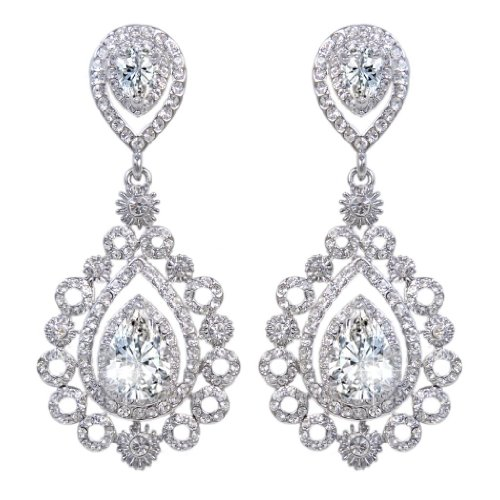 e Crystal CZ Vintage Style Teardrop Chandelier Earrings Clear Silver-Tone (Vintage Silver Clear Rhinestone)