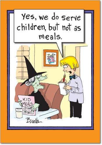 3113 'Witch Kids Meals' - Funny Halloween Greeting Card with 5
