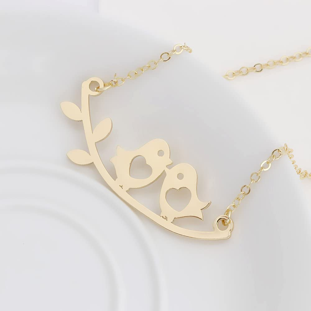 TUSHUO Simple Love Heart Hollow Double Birds Tree Branch Leaves Pendant Necklace for Women