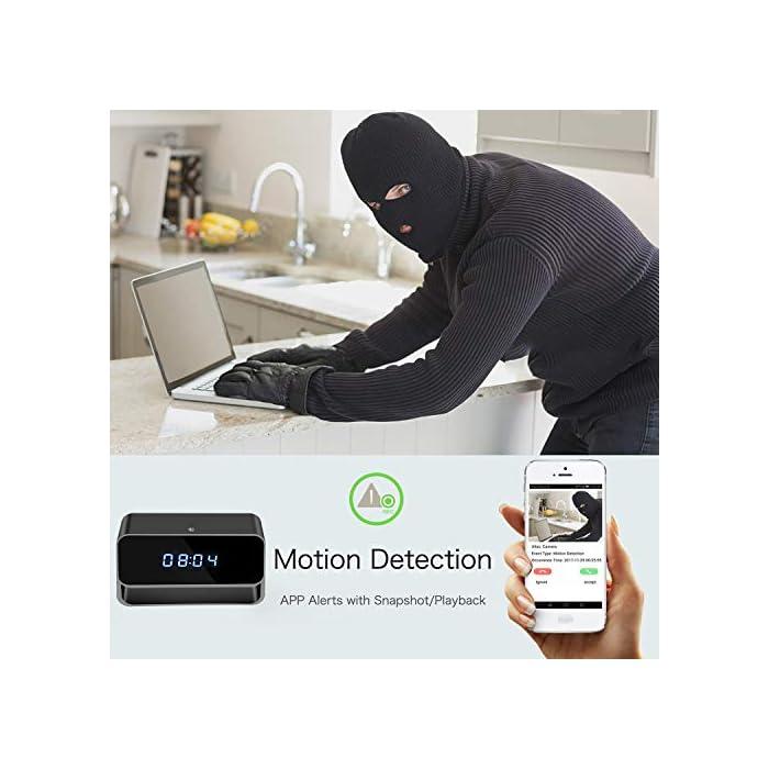 Spy Camera Wireless Hidden Cameras Clock True 1080P Covert WiFi Nanny Cam  Secret Home Security Cams Strong Night Vision Video Recorder Remote View  via