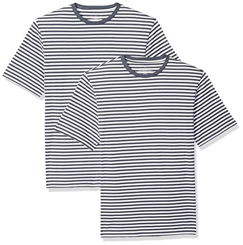 Amazon Essentials Men's Loose-Fit Short-Sleeve Stripe Crewneck T-Shirts, Navy/White, X-Large