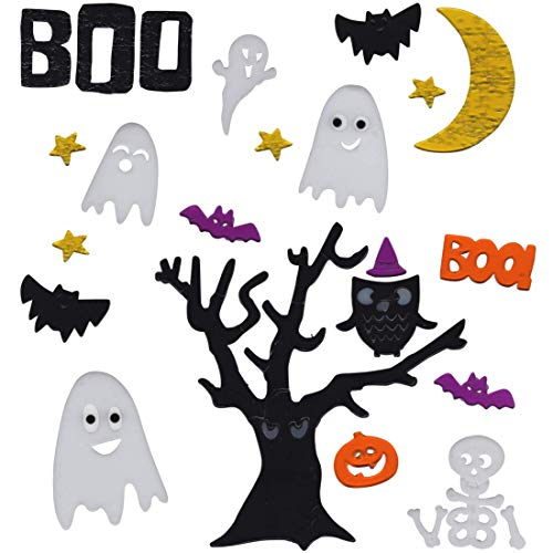 Gel Charms Halloween Window Clings 2018 Decor Pumpkin Ghosts and Scary Tree]()