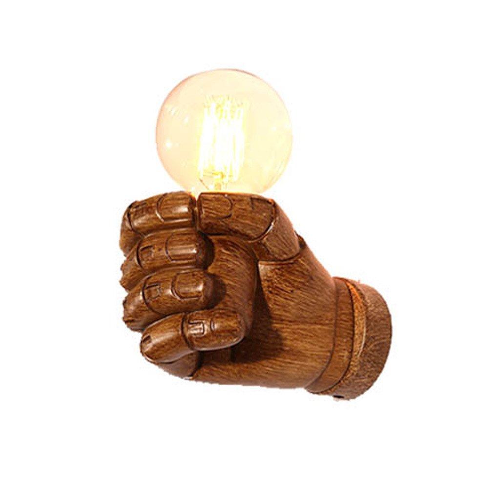 Wandlampe Wandlampe Ganglampe kreatives Schlafzimmer Nachttischlampe Treppenhintergrundwandlampe hölzerne Faustwandlampe (Größe   B.Right hand)