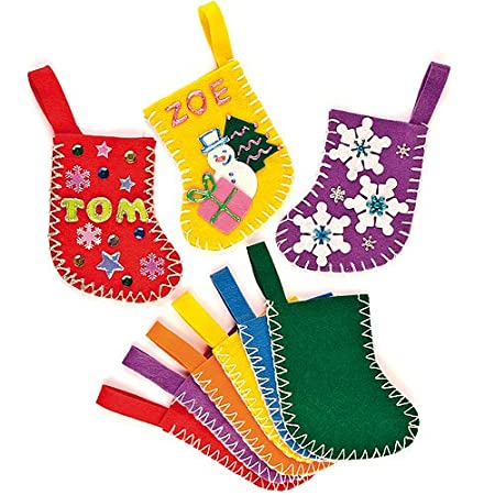 Amazon.com: Baker Ross Mini Felt Colored Stockings for Children to Decorate and Display As Winter Christmas Crafts or Offer as a Gift (Pack of 6): Toys & ...