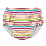 i play. Baby Girls Snap Reusable Absorbent Swimsuit Diaper, Pink Multistripe, 24month