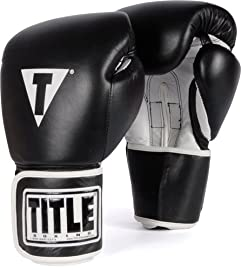 TITLE Boxing Pro Style Leather Training Gloves, Black/White, 16-Ounce