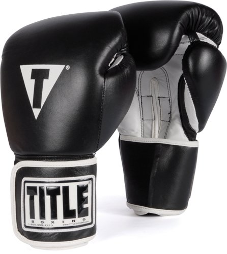 TITLE Boxing Pro Style Leather Training Gloves, Black/White, - Gloves Black Boxing Twins