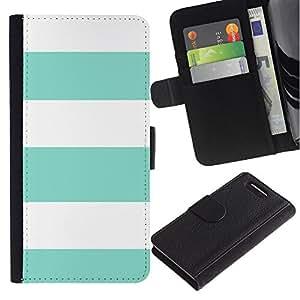 Paccase / Billetera de Cuero Caso del tirón Titular de la tarjeta Carcasa Funda para - Teal Summer White Lines Pattern Sun - Sony Xperia Z1 Compact D5503