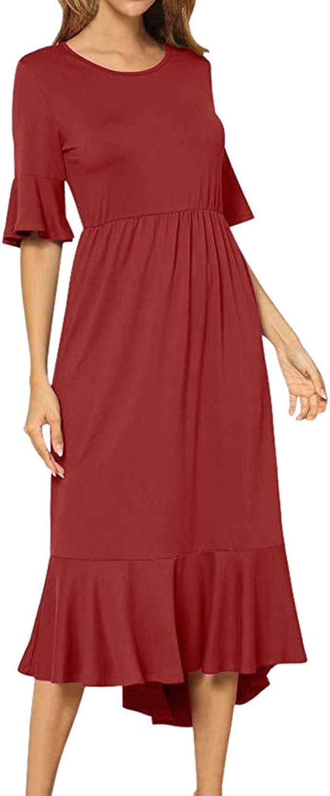 Eaylis_Damen Kleid mittellang, flüssig und lässig, einfarbig schick