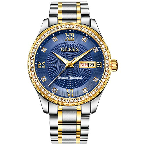 Watches for Men Silver Gold Stainless Steel Band Gold Diamond face Blue with Day Date Luminous Wrist Watch & Gift Tool