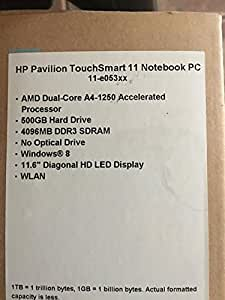 "HP Pavilion 11-e015nr TouchSmart 11.6"" Touch Screen Laptop Notebook - AMD Elite Quad-Core A6-1450 / 4GB DDR3 / 320GB HD / Webcam & Microphone / No Optical Drive / Windows 8 64-bit OS"