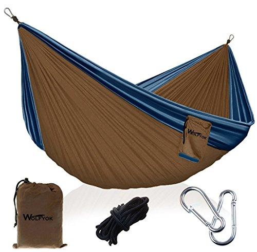 Wolfyok Portabel Camping Hängematte, 290 x 140cm Multifunktionen Super Leicht Nylon Fallschirm Outdoor Reise Garten Hammock für Mehrpersonen Kapazität 230kg ( Orange )