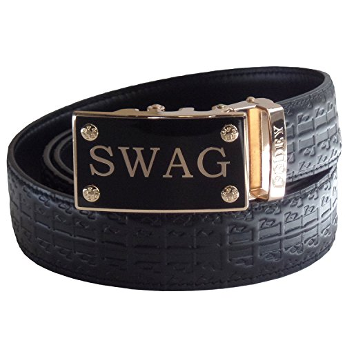 FEDEY Mens Ratchet Belt, Leather, Signature Series, Automatic Statement Buckle, SWAG - Black/Gold, Large ()