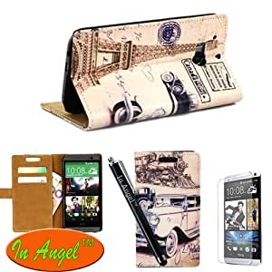In Angel Old Day High Quality Leather Protector Flip Cover With In-Bulid Stand And Wallet Credit Slot Cover For HTC One (M8) With One Screen Protector and One Stylus